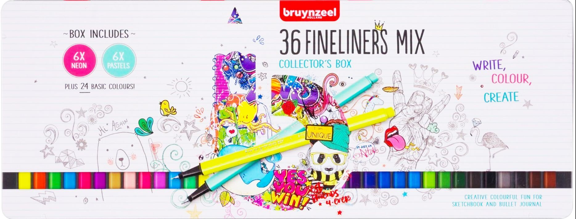 Bruynzeel - 36 Fineliners Mix - Collectors Box - Creative Colouring