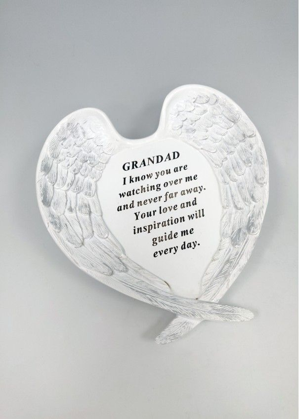 MEMORIAL- White and Silver Angel Wings Plaque