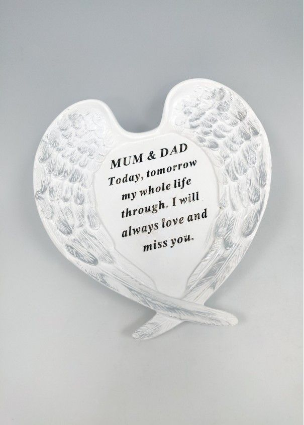 MEMORIAL- White and Silver Angel Wings Plaque -
