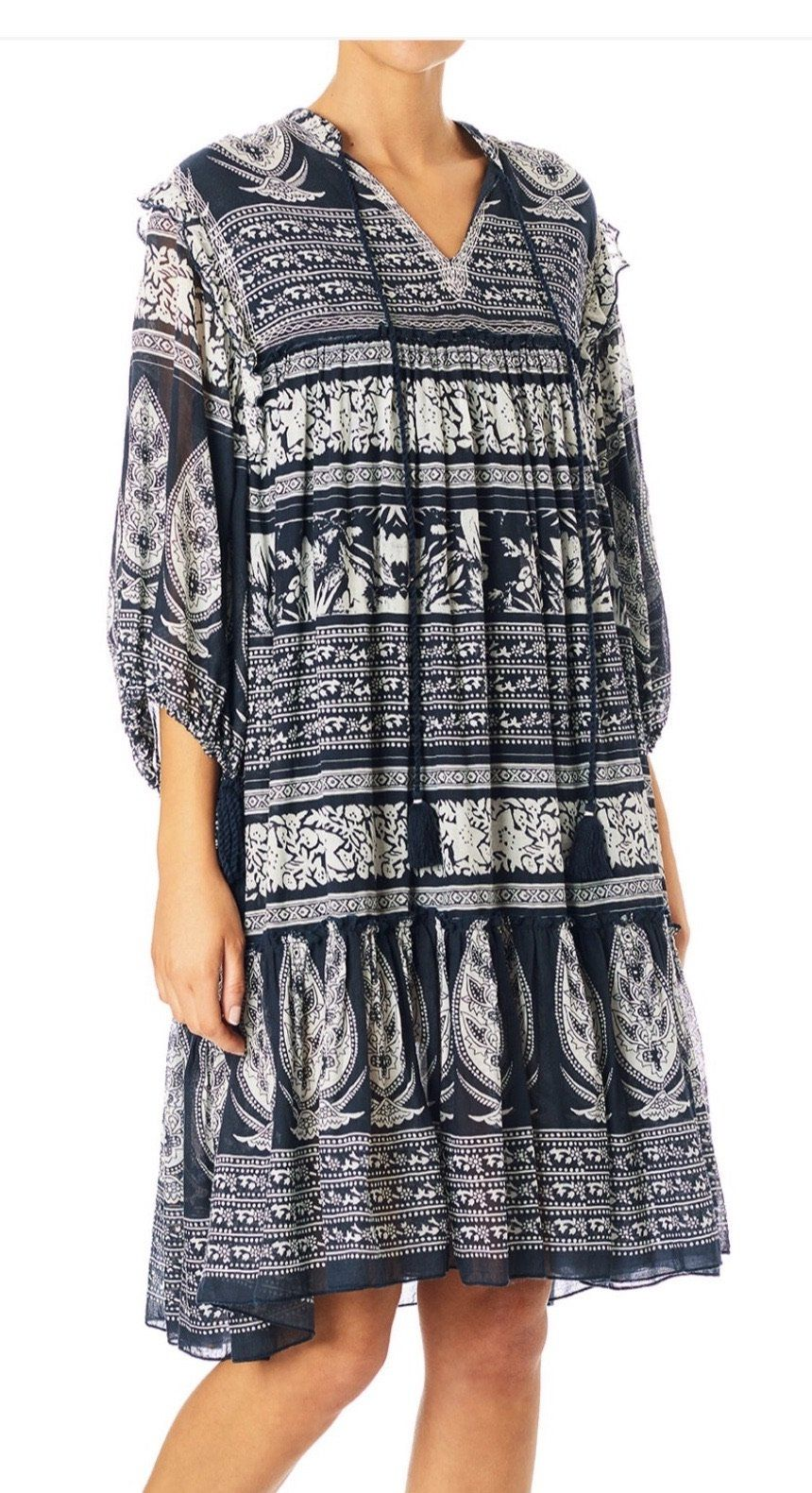 M.A.B.E Athena Print Dress in Navy S