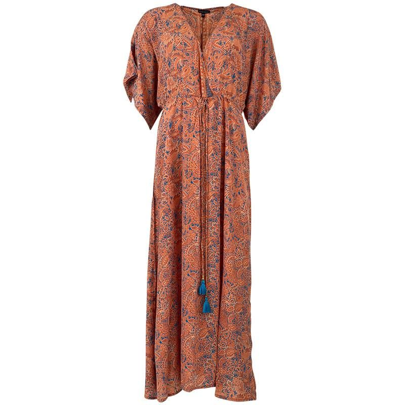Black Colour Luna Waistline kaftan dress in Orange Azur M/L