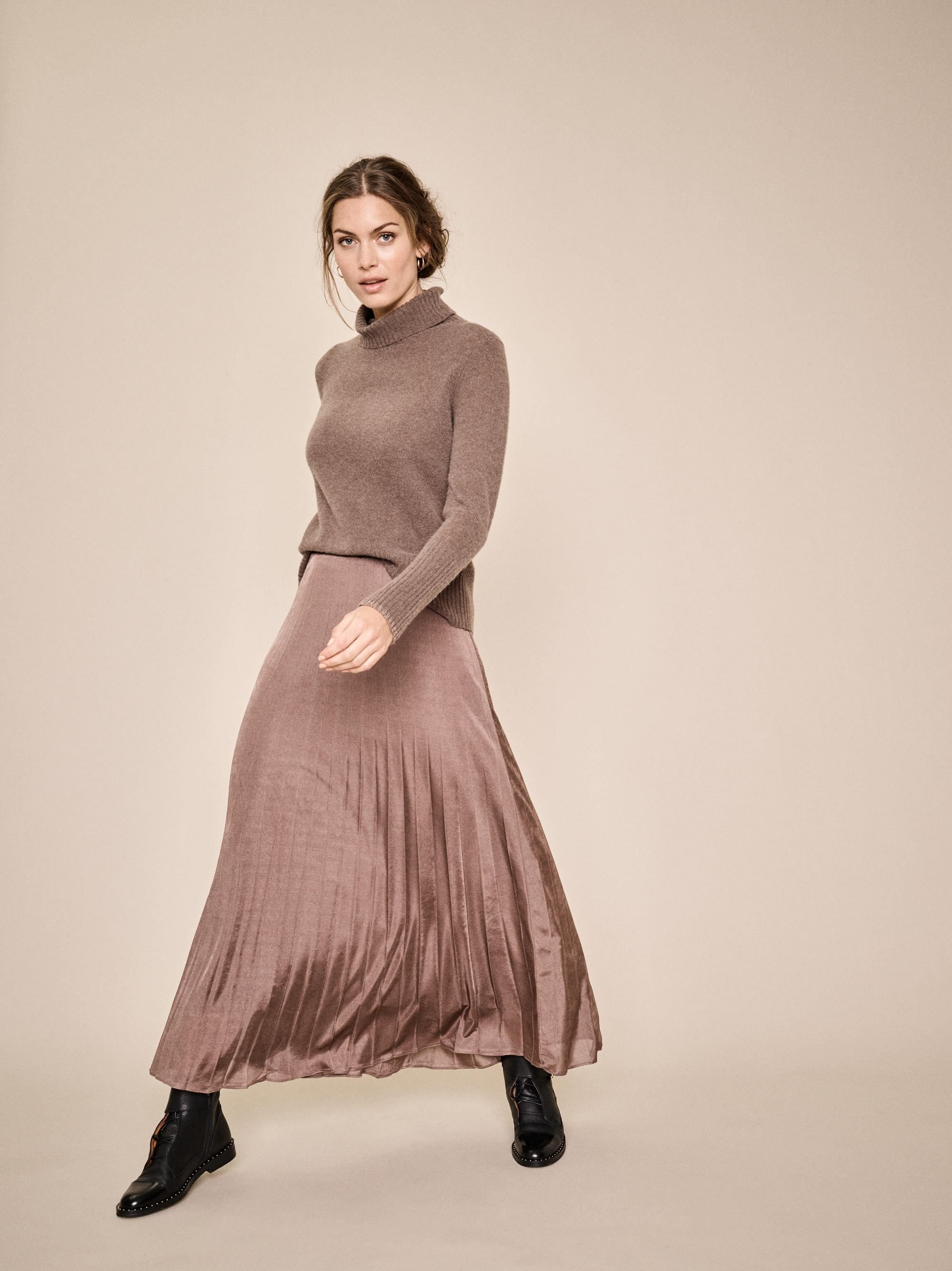 Mos Mosh Plisse Jersey Skirt in chocolate Chip S