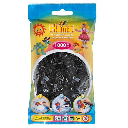 Hama Beads - Various Colours to Choose from - 1000 Per Bag - UK Supplier, Colour: Black