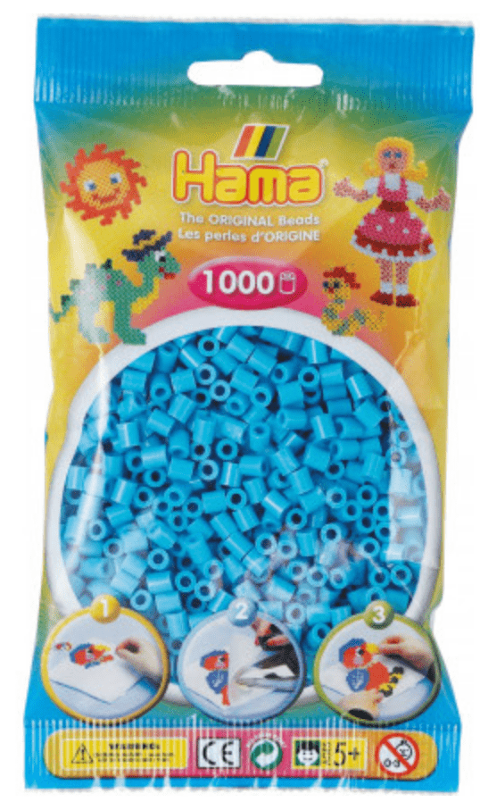 Hama Beads - Various Colours to Choose from - 1000 Per Bag - UK Supplier, Colour: Azura Blue