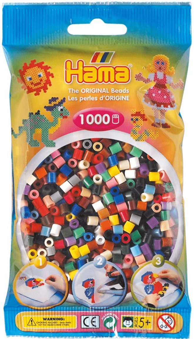 Hama Beads - Various Colours to Choose from - 1000 Per Bag - UK Supplier, Colour: Bright Solid Mix
