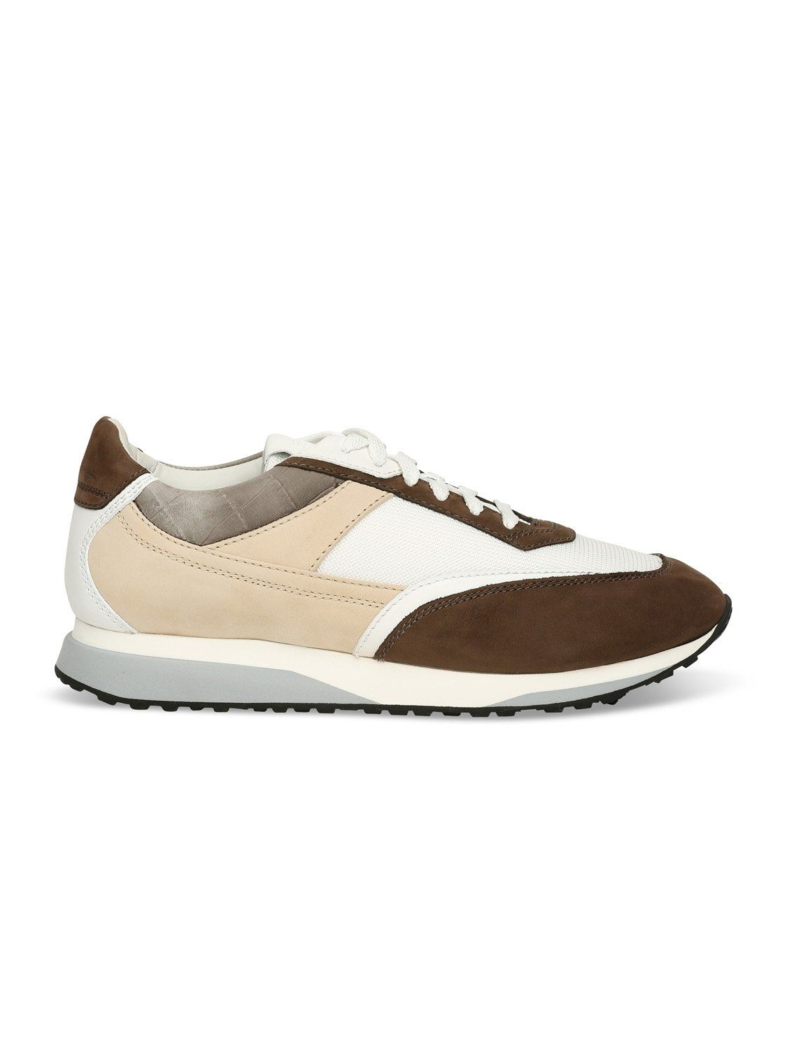Santoni Contrast Trainer (White / Brown) UK 7 / EU 40-41