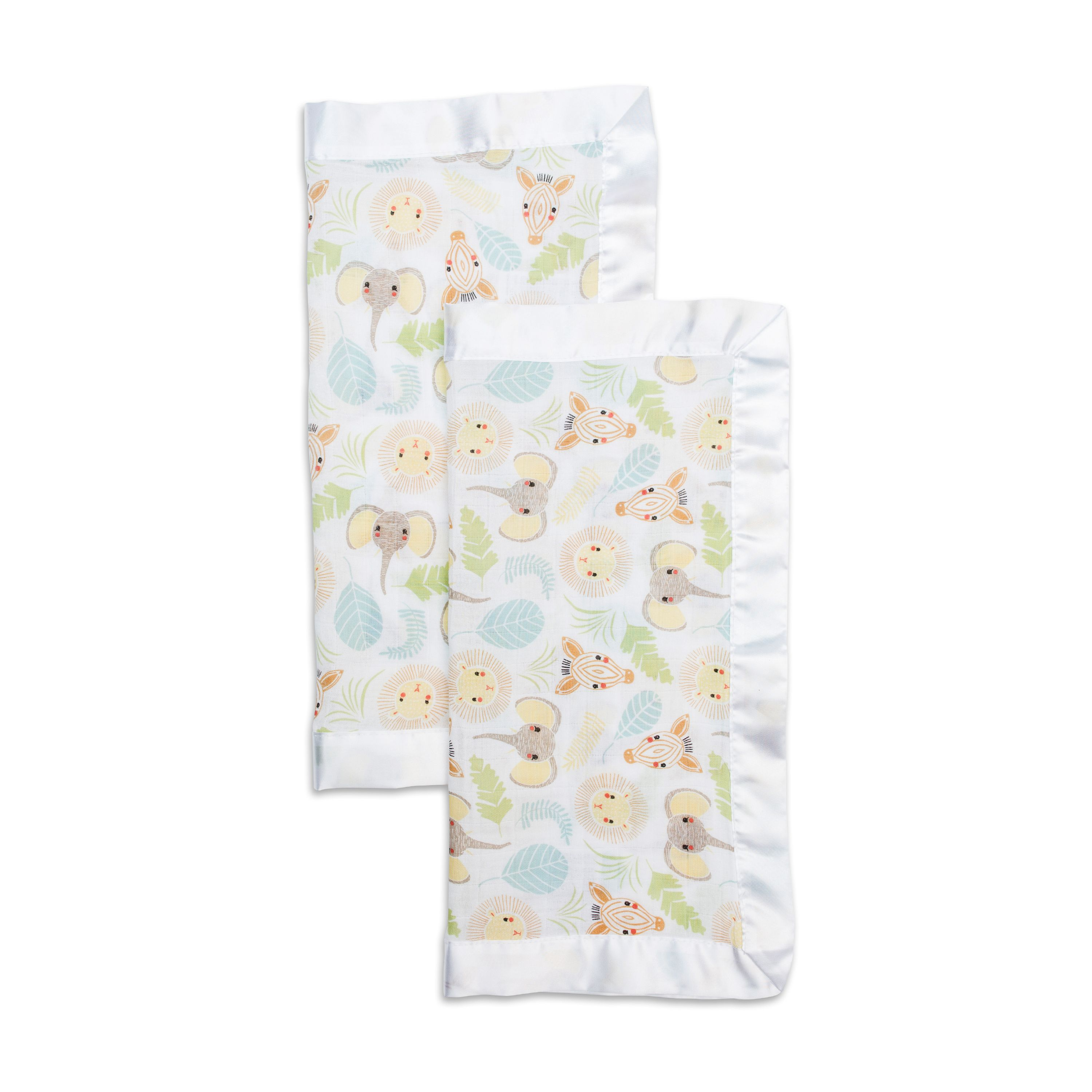 LuLuJo Baby Security Blankets Comforters with Silk Trim - 2 Pack - Jungle