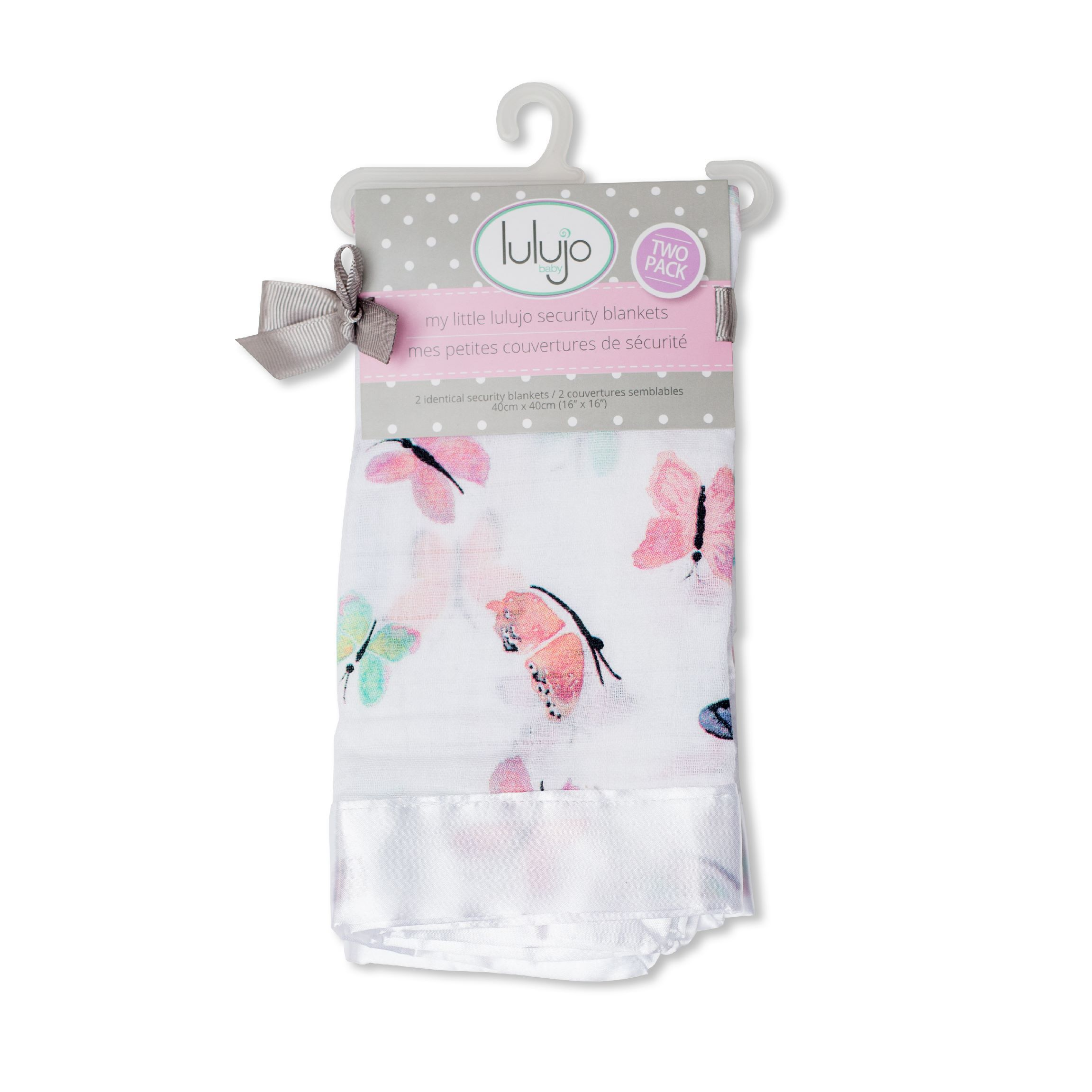 LuLuJo Baby Security Blanket Comforters with Silk Trim - 2 Pack - Butterfly