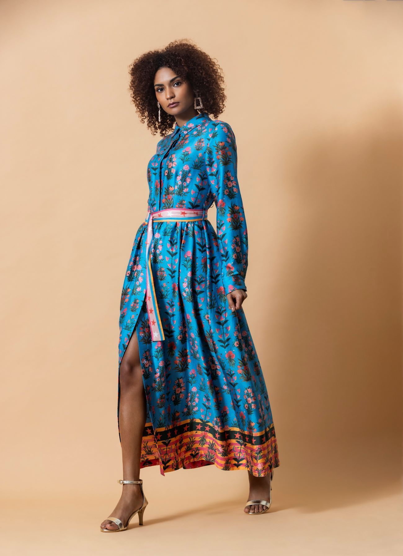 Turquoise Floral/Stripe Shirt Dress TURQUOISE - 10