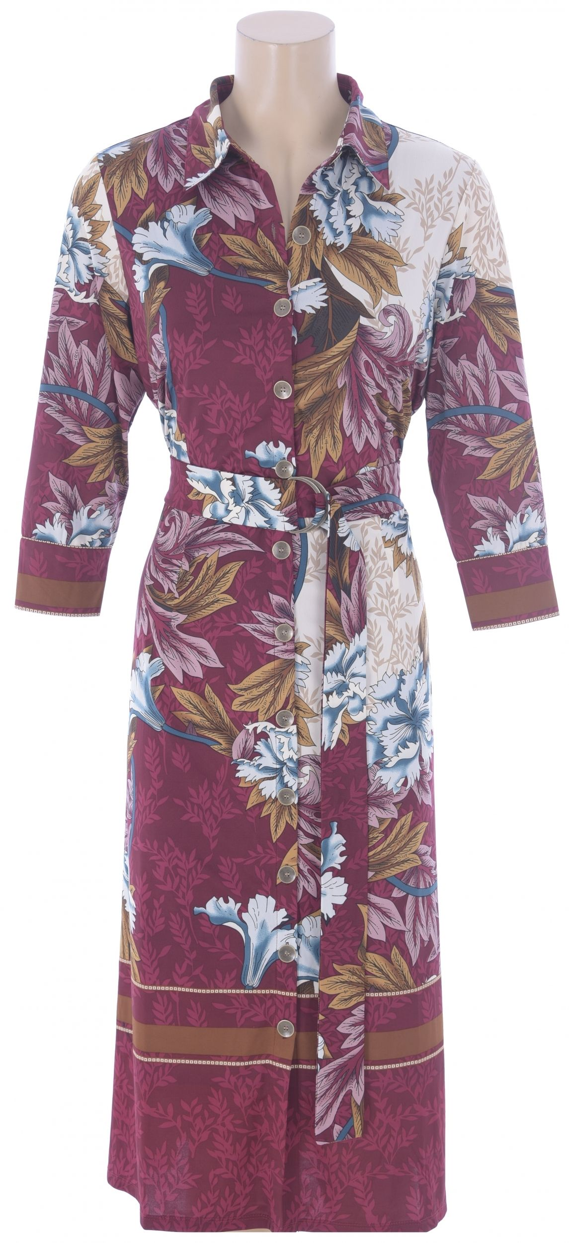 K Design Gold Button Midi Dress With A Burgandy, Blue, Tan/cream & Pink Print