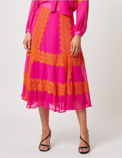 FOREVER UNIQUE Fuchsia And Orange Lace Embellished Midi Skirt