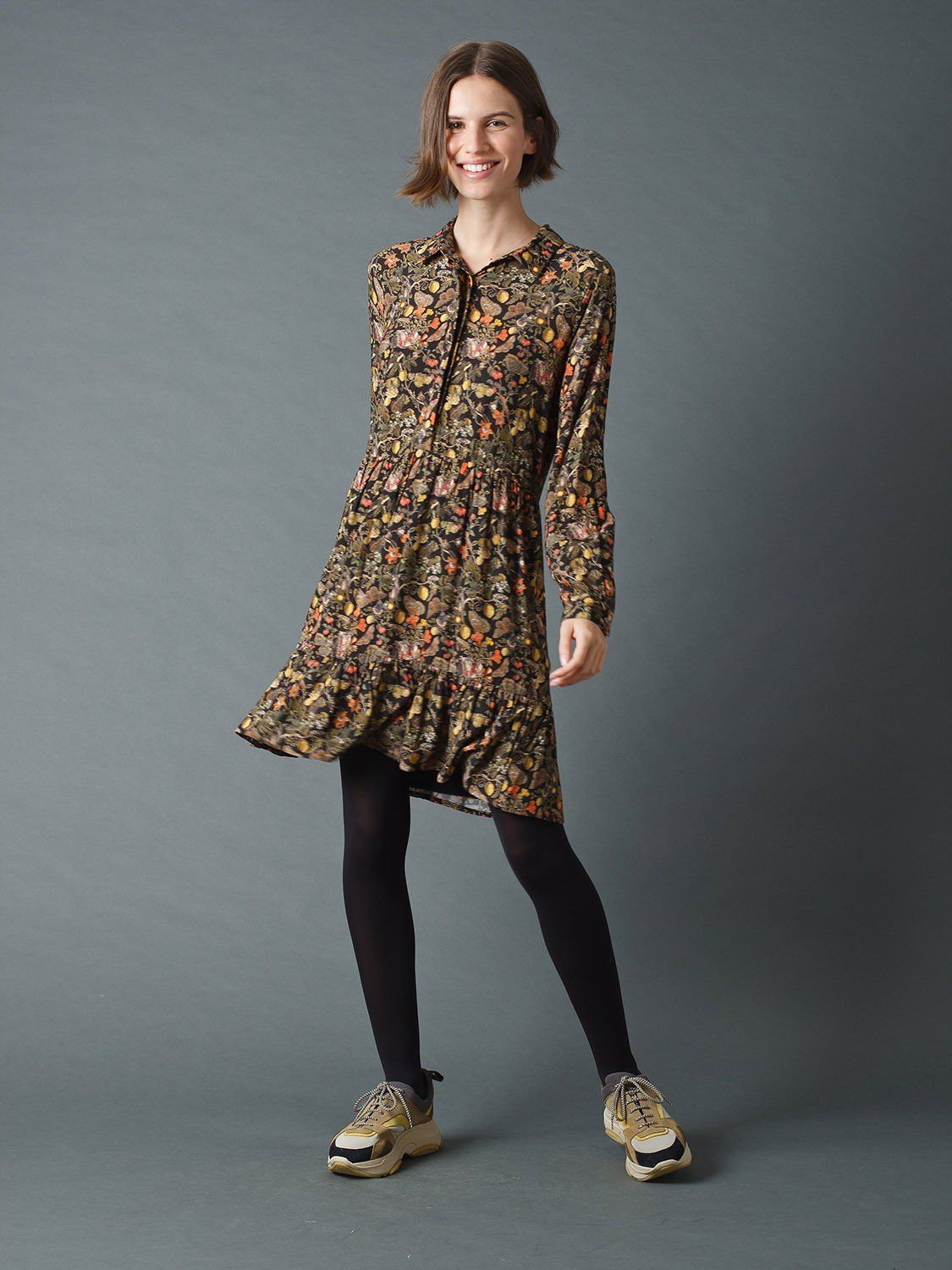Dress Shirtdress with Pomegranate Print M