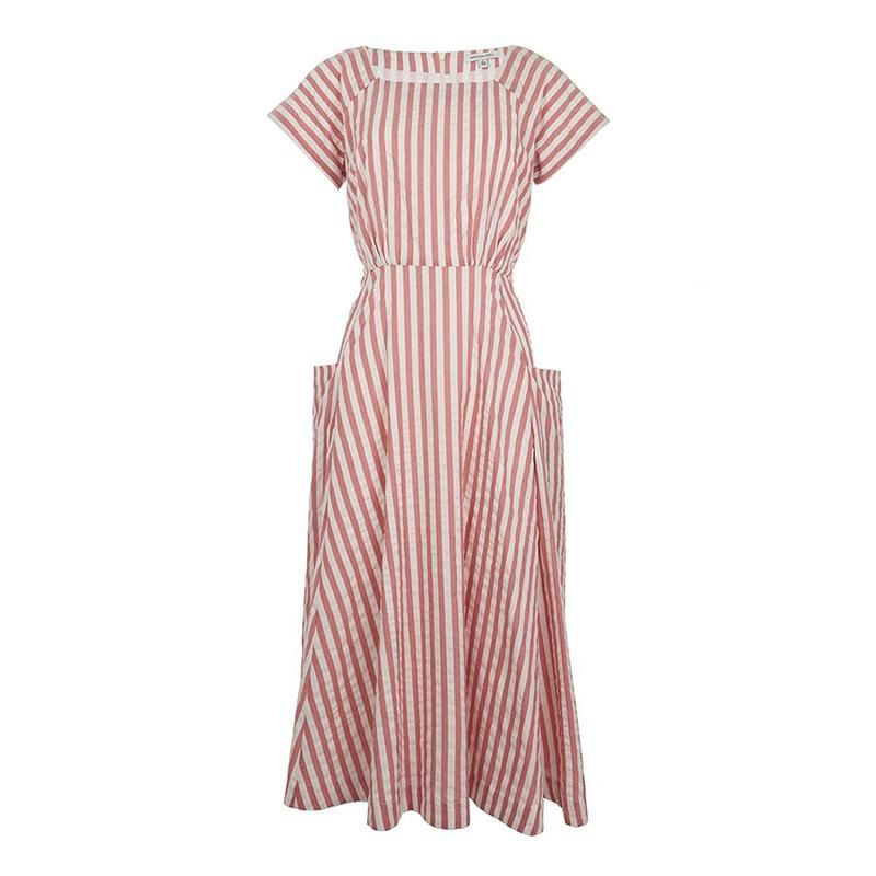 Pink Stripe Aubrey Midi Dress 10