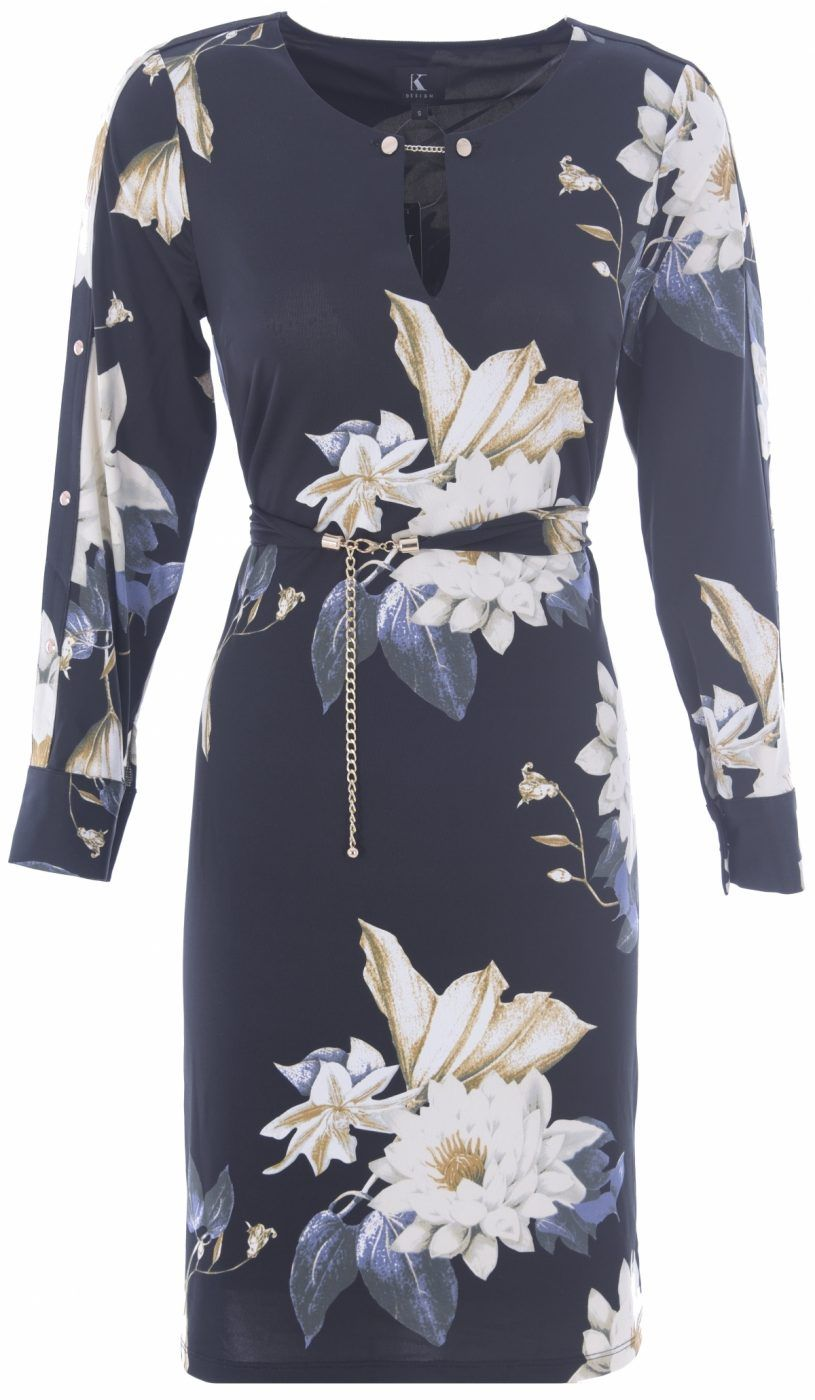 Floral Shift Dress in Black from K-Design