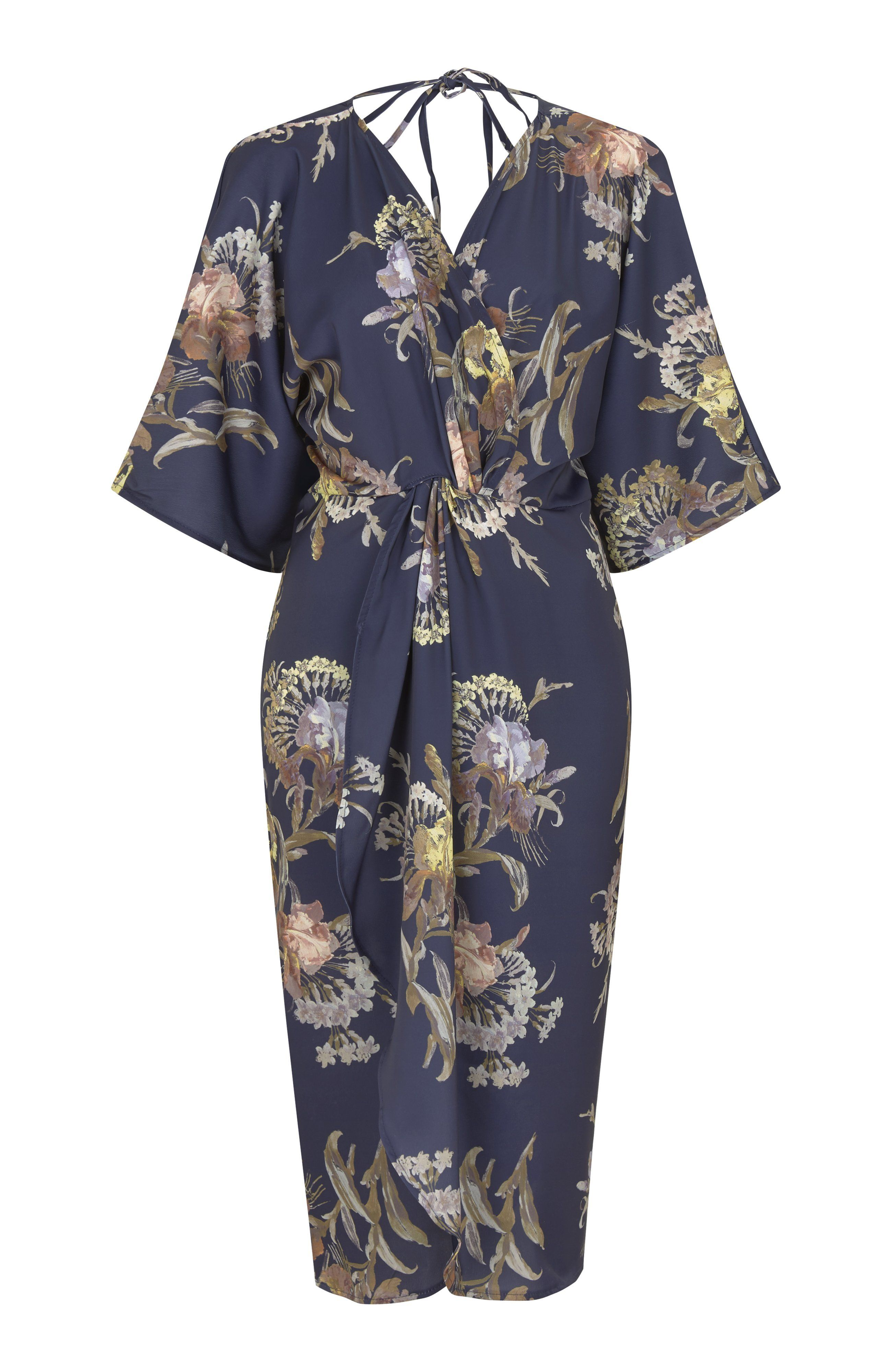 Hope and Ivy Navy Floral Twist Front Kimono Dress XS/6