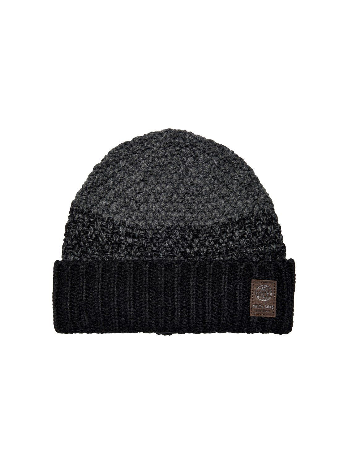 Cenz Knit Beanie Black Stripes One Size