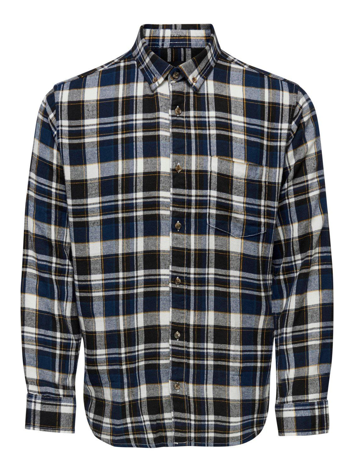 Simon Check Flannel Shirt Dress Blue XXL