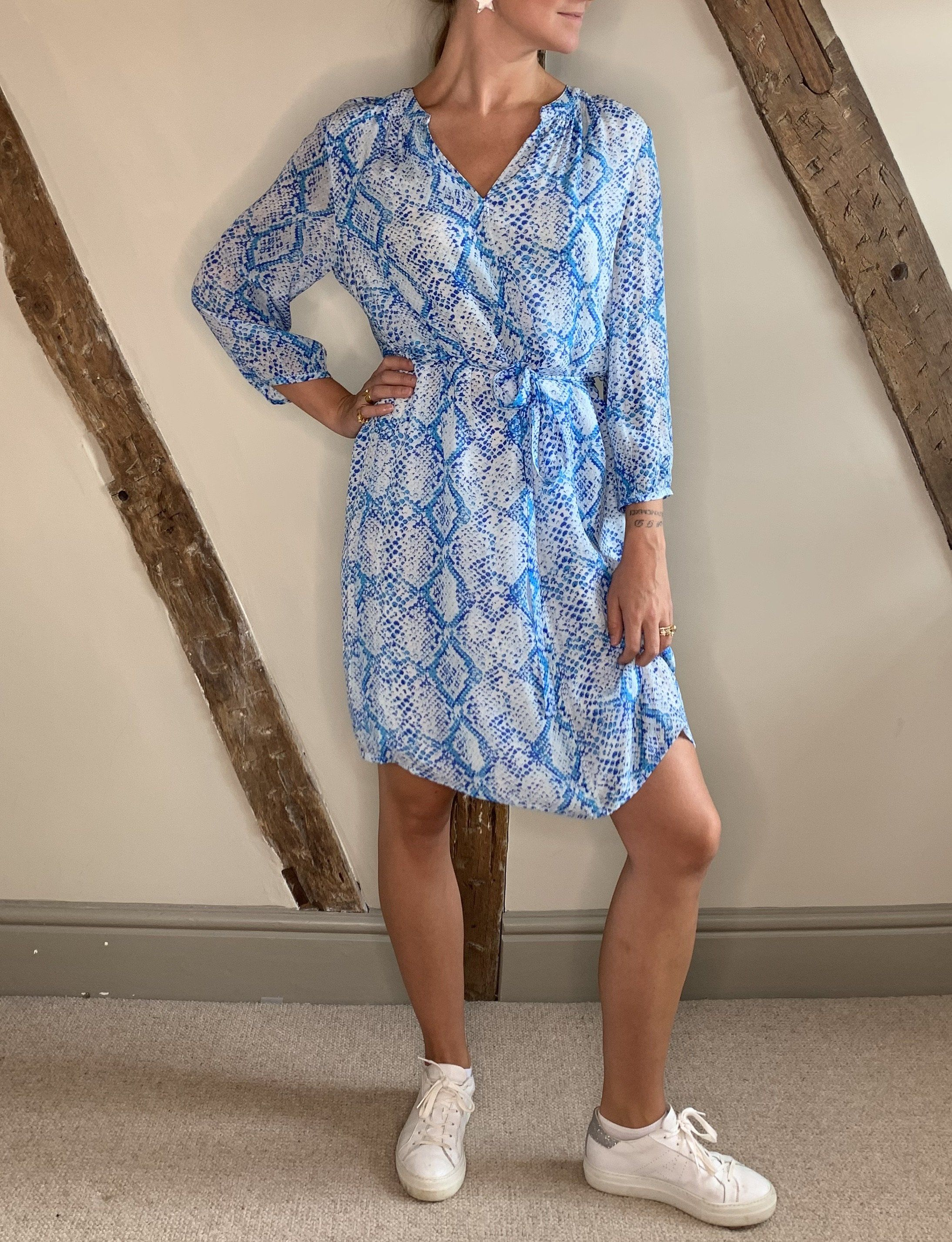 Allie & Grace Blue Snake Dress S