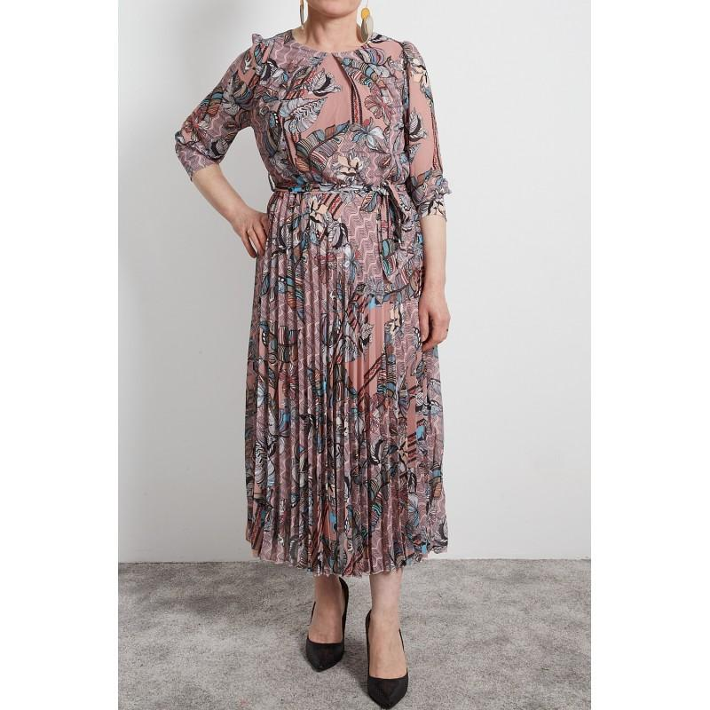 Floral printed pleated dress