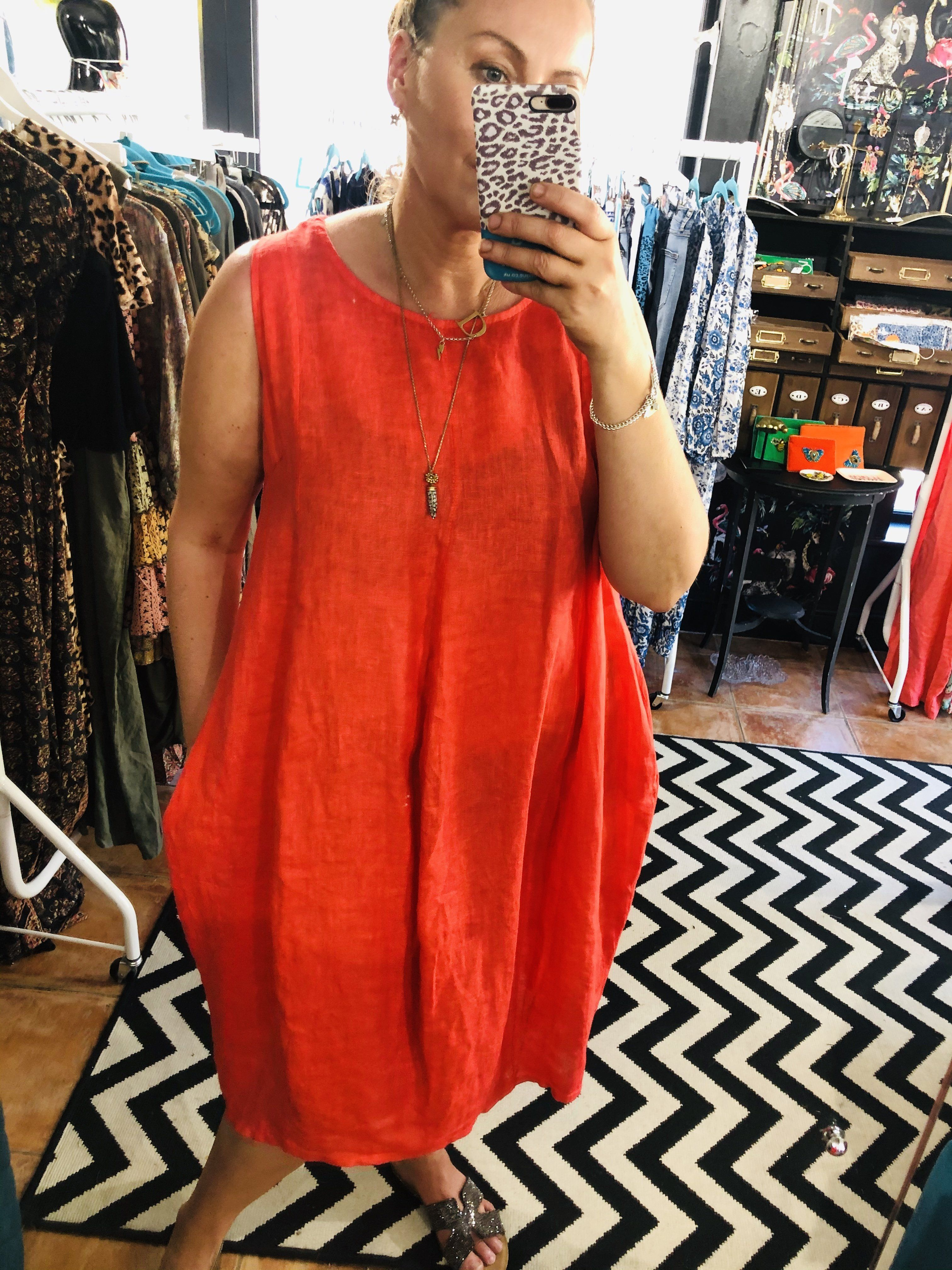 Janice simple linen cocoon dress Coral