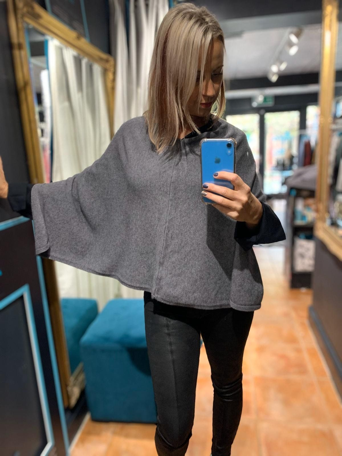 Michelle Knit Zip Shoulder Poncho pale grey