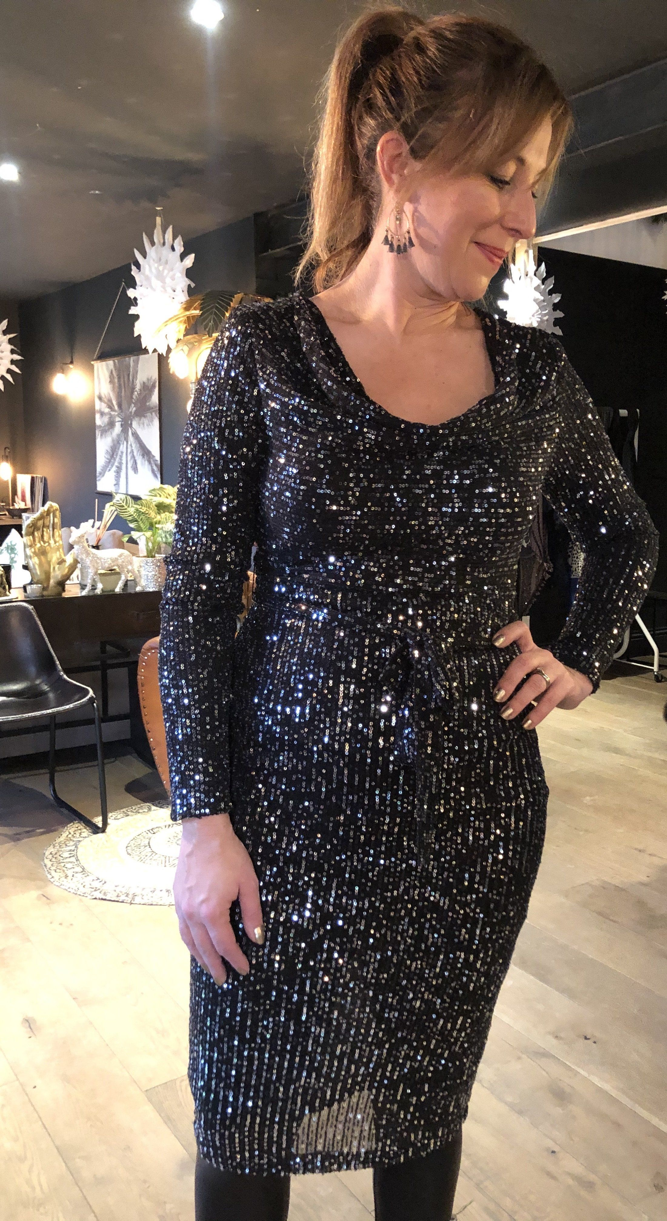 Strictly Style Cowl Neck Sequin Dress black & silver sequin - small