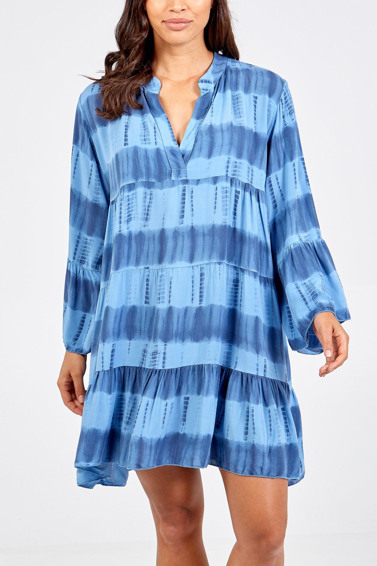Stripy Tie Dye Shirt Dress Denim blues