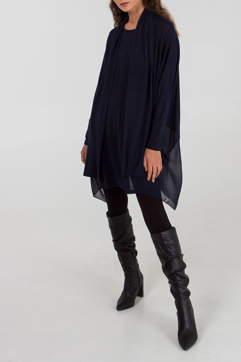 Oversized Navy Tunic with Scarf 18-20