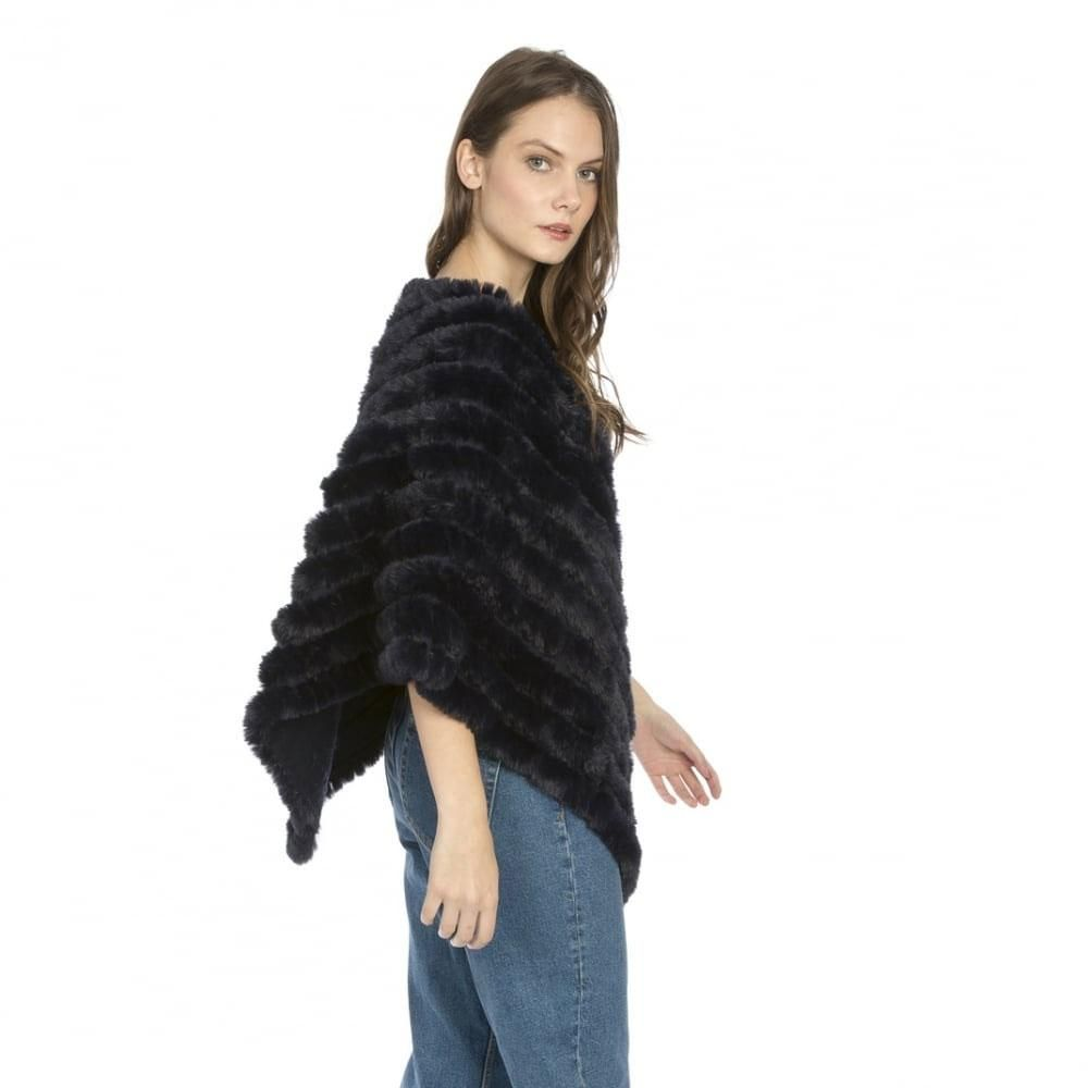 jayley cashmere blend faux fur poncho CHOCOLATE - OS