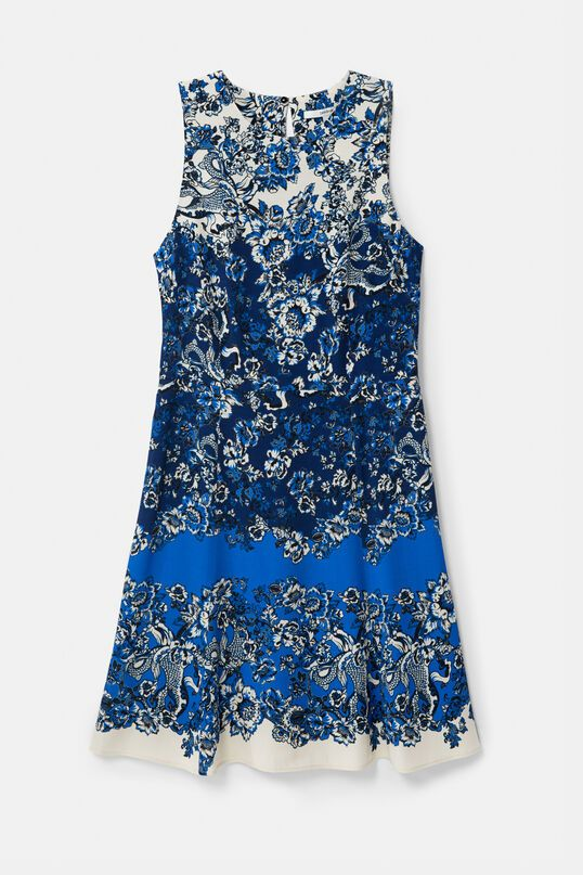 Desigual Atenas Short Dress with Oriental Print - Azul Dali 36/8