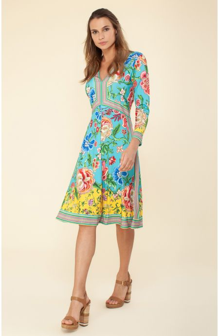 Hale Bob 6812 Julian Dress - Turquoise M