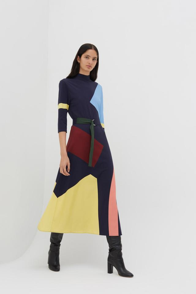Chinti & Parker Abstract Dress - Navy / Multi XS