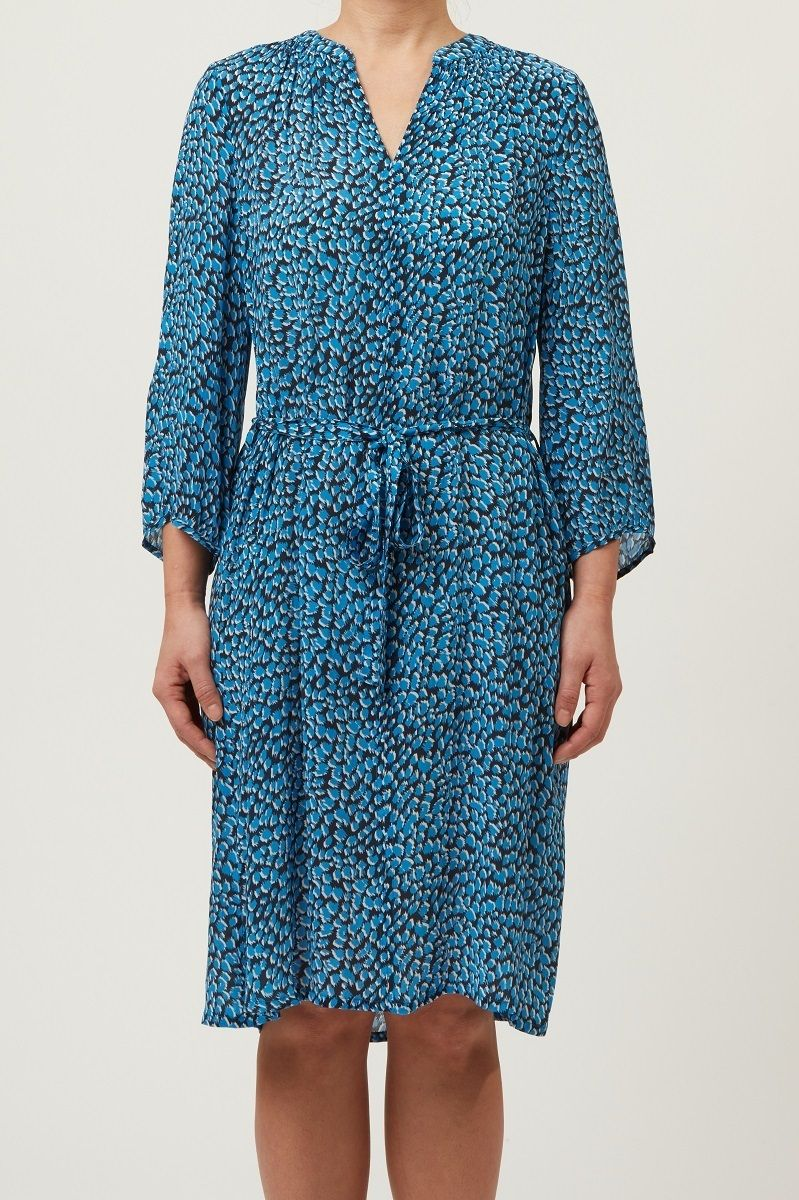 Allie & Grace Freya Shirred Neck Dress - Blue Print S