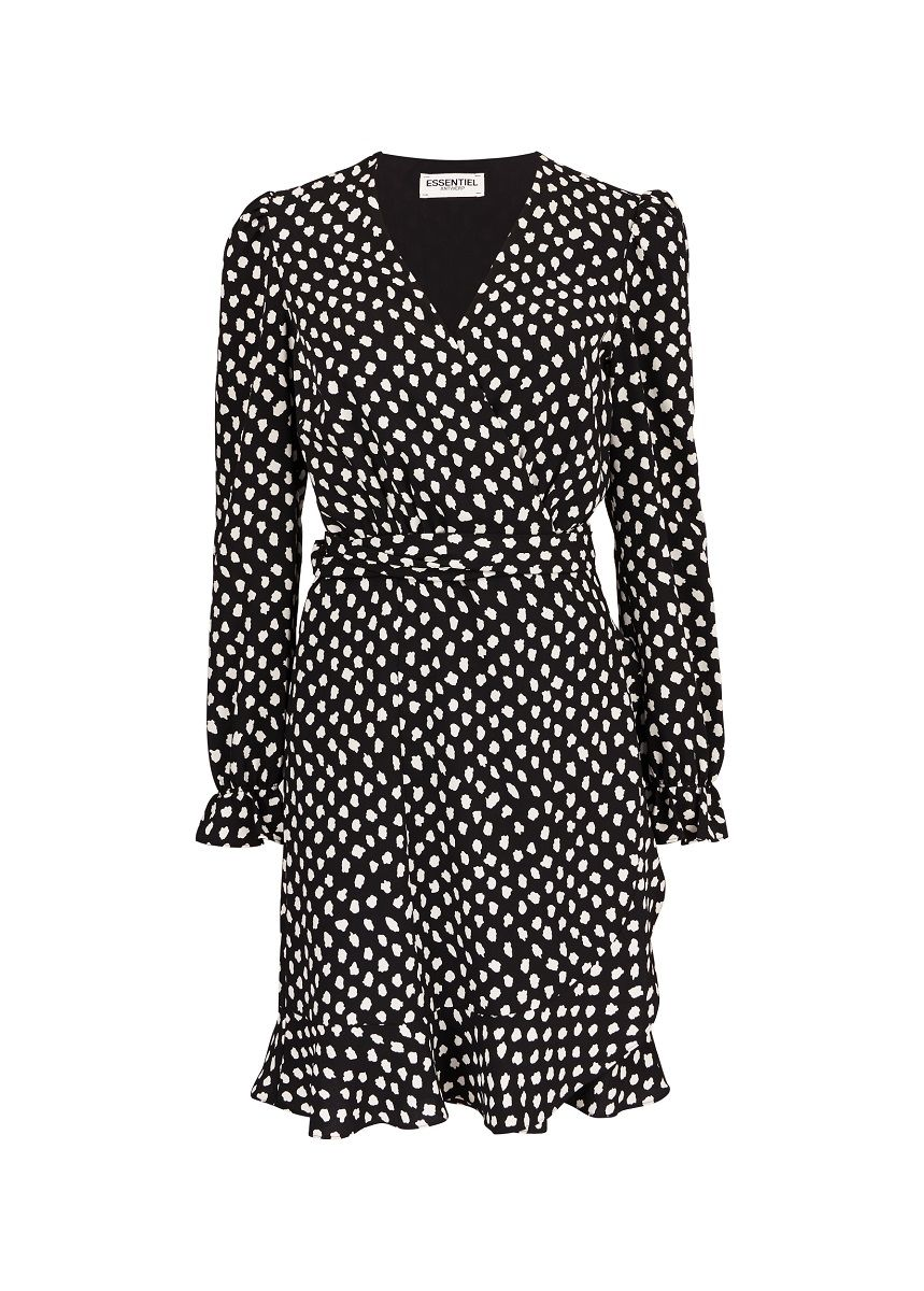 Essentiel Antwerp Vodolfo Wrap Dress - Black Polka Dot 34/6