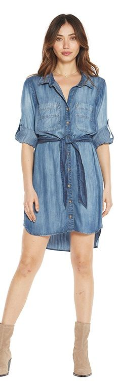 Bella Dahl Two Pocket Belted Shirt Dress - Evening Mist XS
