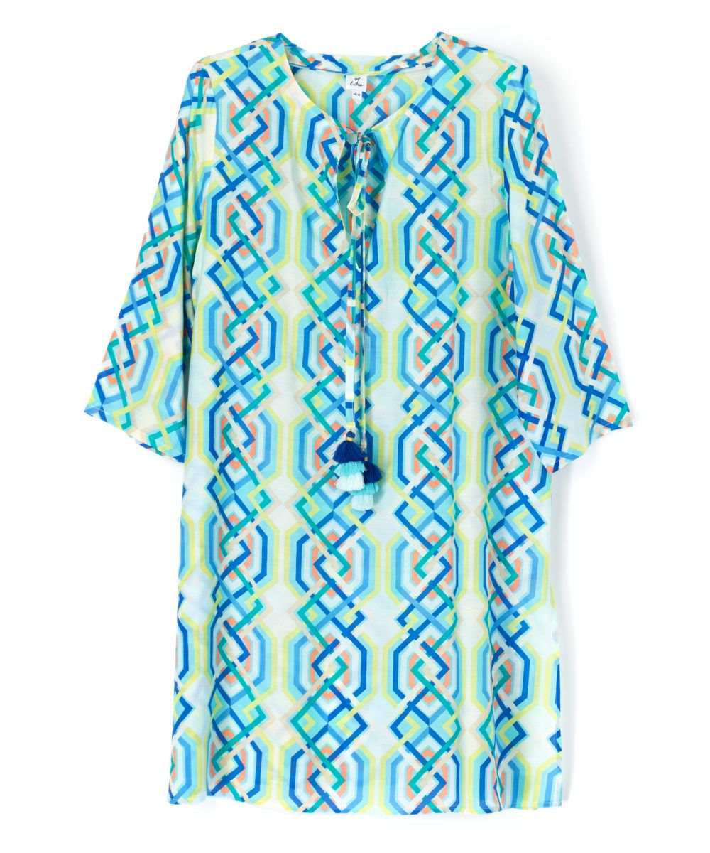 Echo Cabana Lattice Tunic - Seafoam S