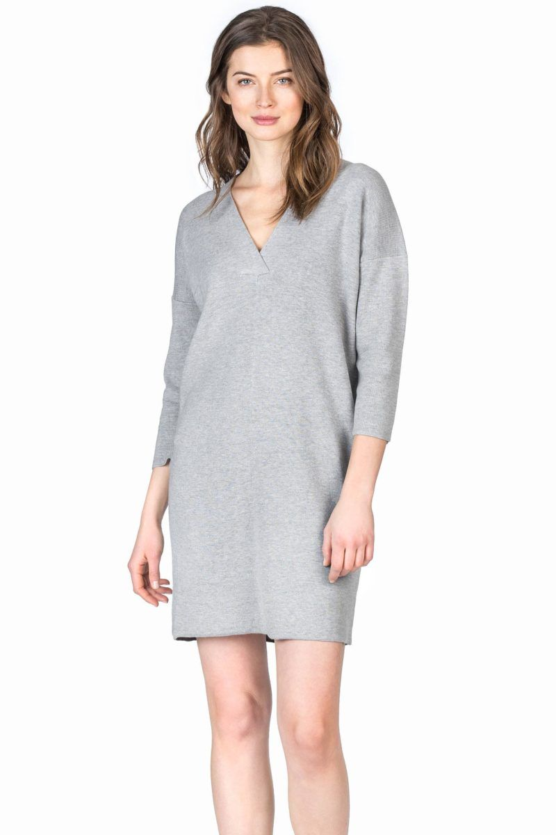 Lilla P 3/4 Sleeve Dress - Heather Grey XS