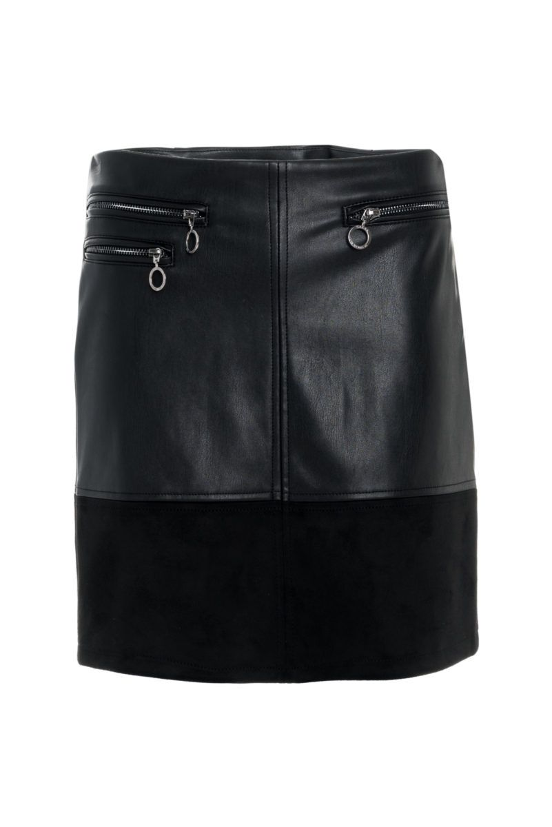 Salsa Faux Leather Mini Skirt With Zips - Black S