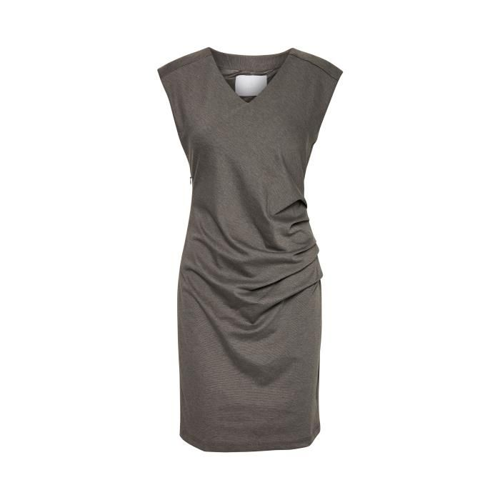 Kaffe India V Neck Sleeveless Dress  - Dark Grey Melange XXLarge