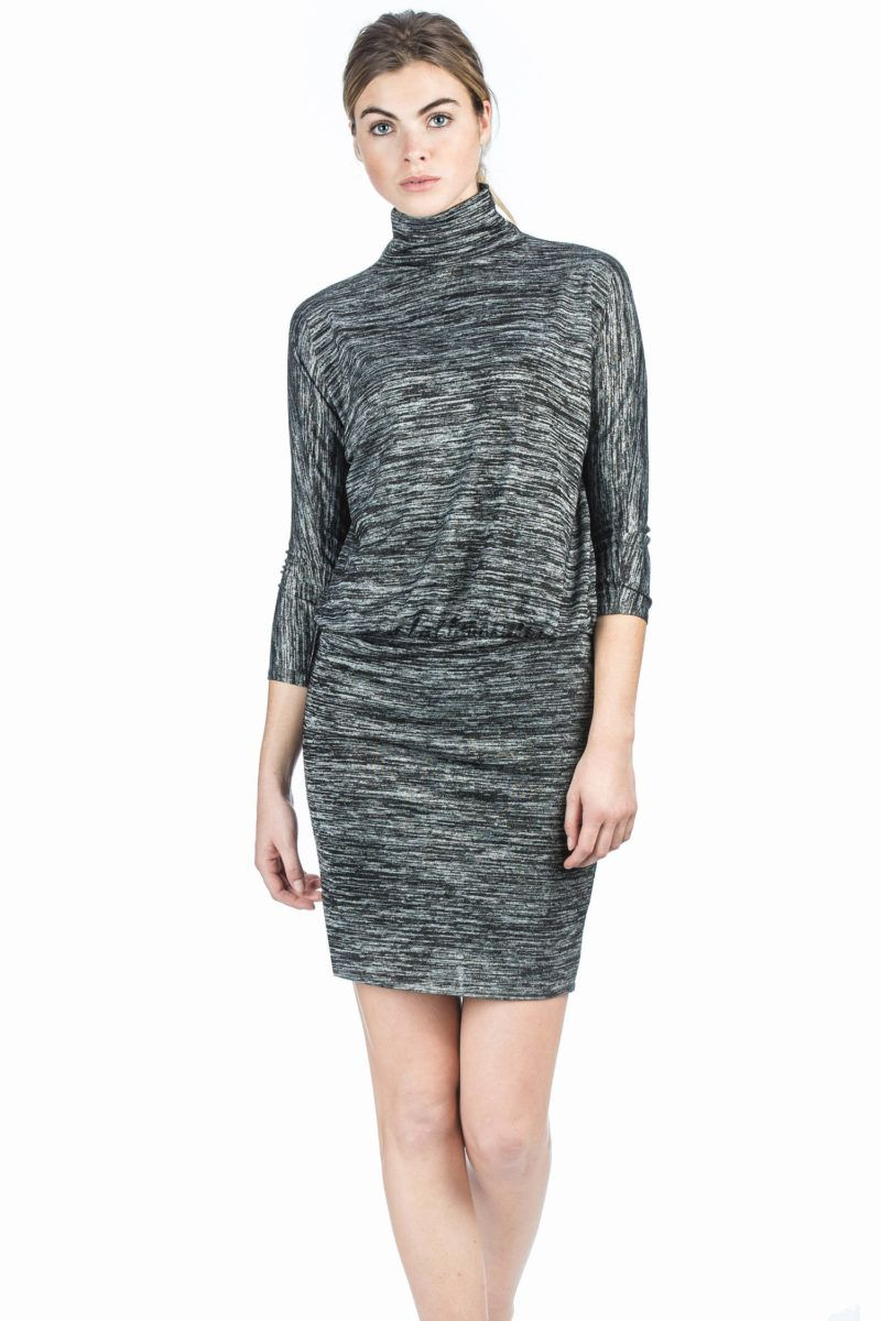 Lilla P 3/4 Sleeve Blouson Dress - Black Space Dye