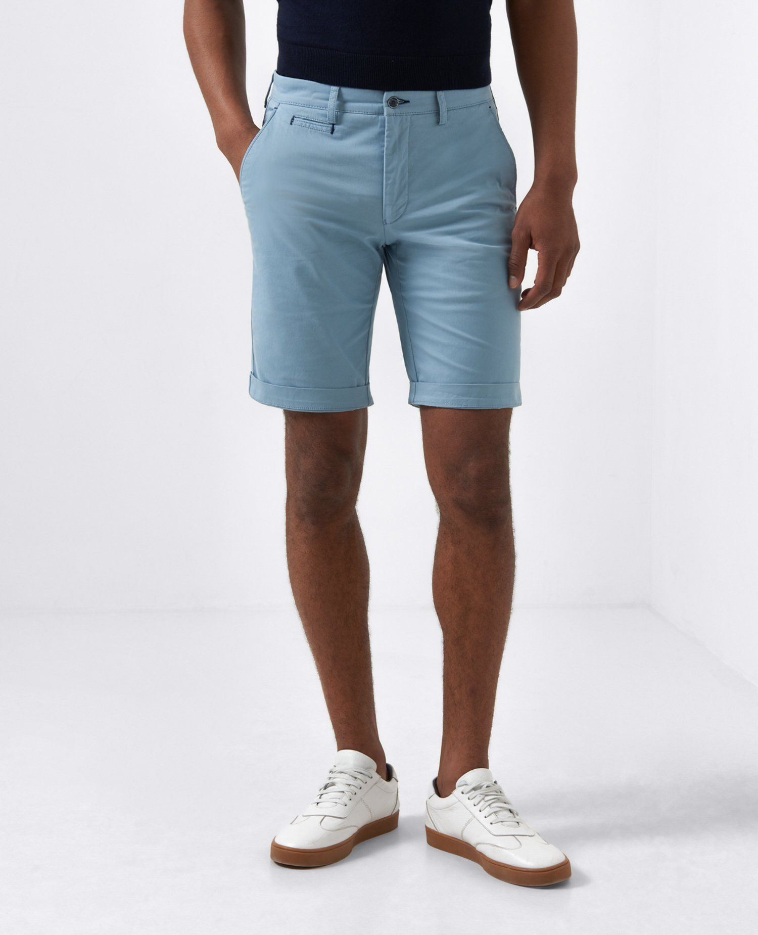 Elio Light Blue Tailored Shorts 34'