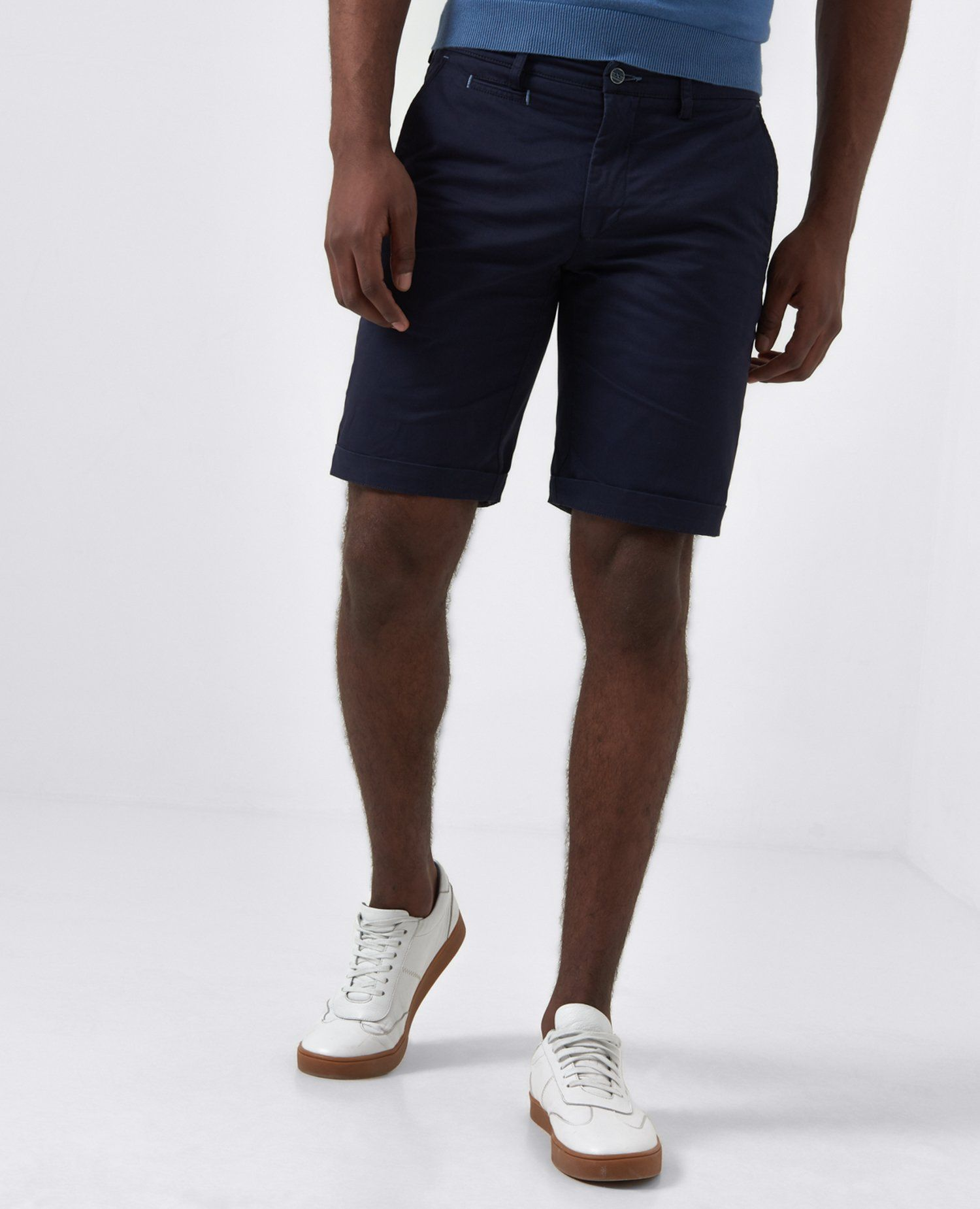Elio Navy Tailored Shorts 34'