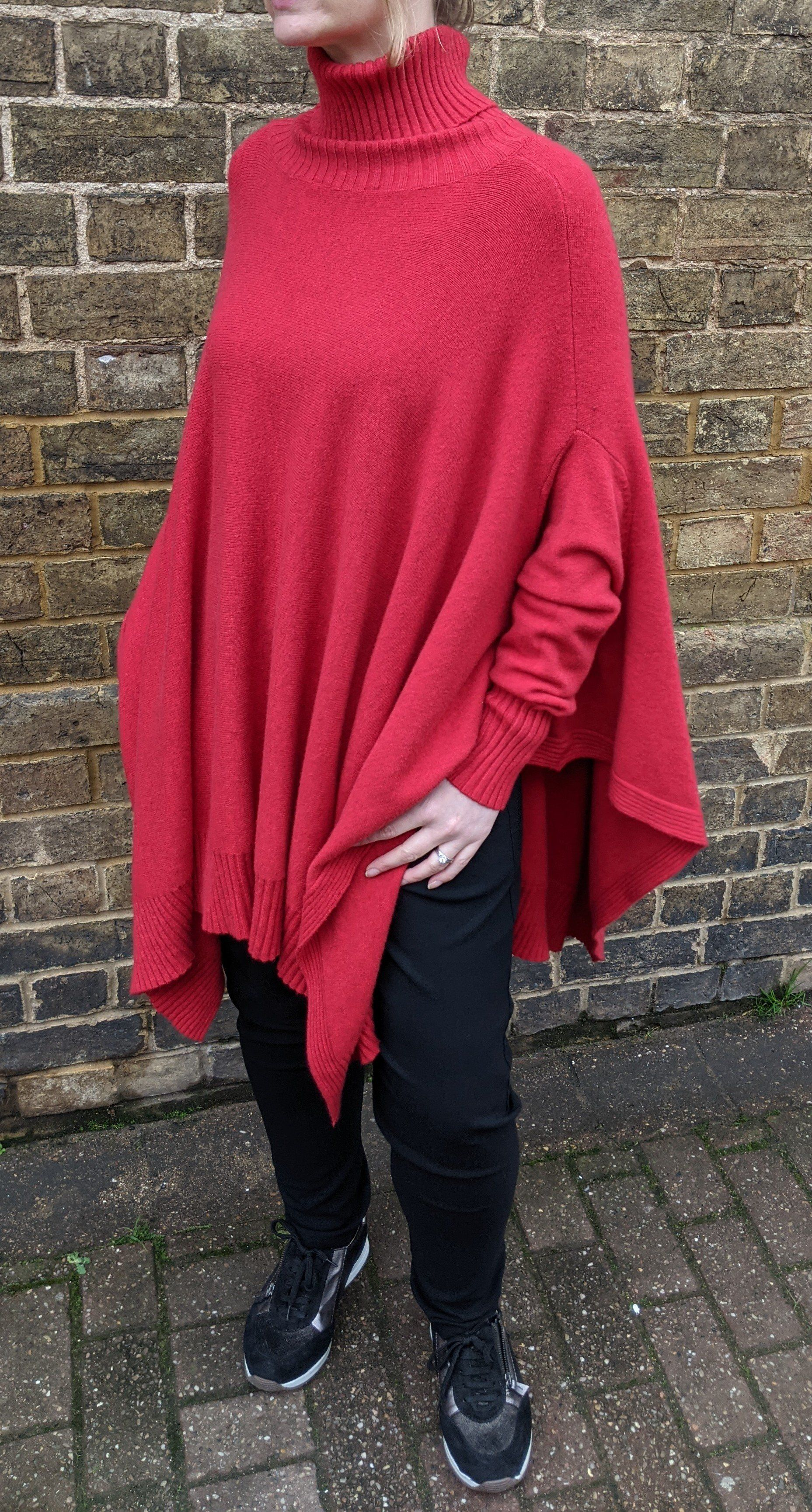 Oversize Polo Neck Poncho with Sleeves - Fine Knit Bright Red