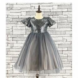 Girls Silver Sequin & Tulle Bridesmaid Dress