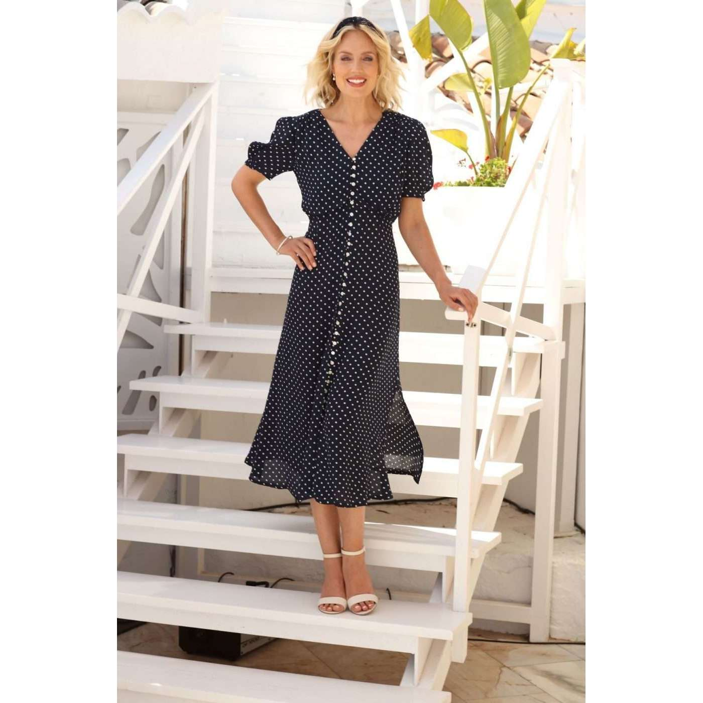 Button through Spot Dress Navy or Red