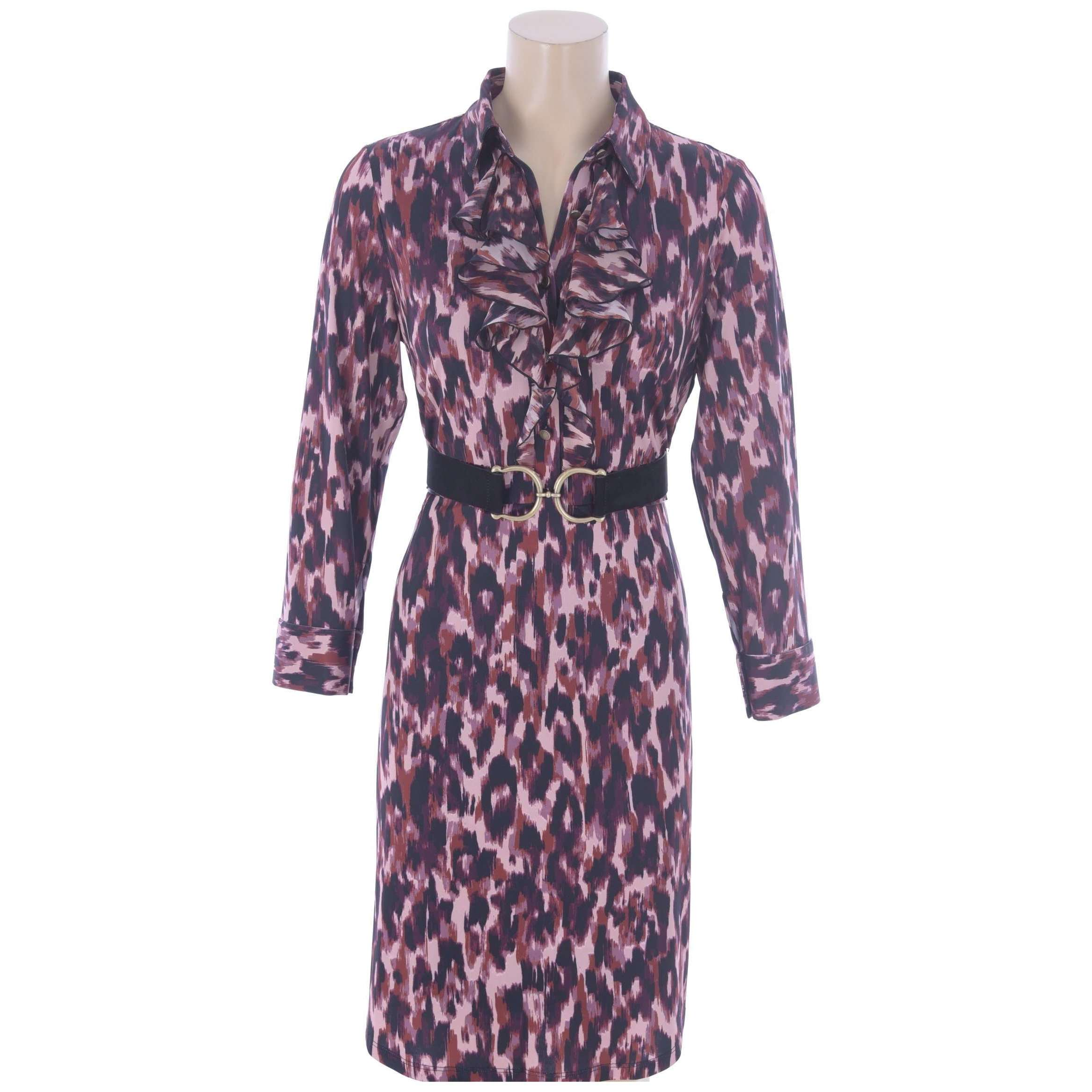 R845 Animal Print Dress with Frill and Belt