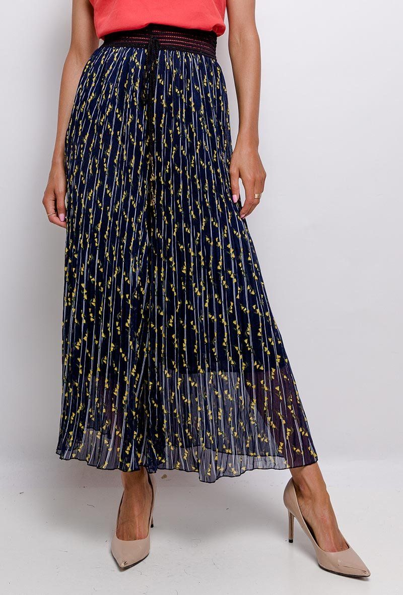 Abstract Navy Print Maxi Skirt M