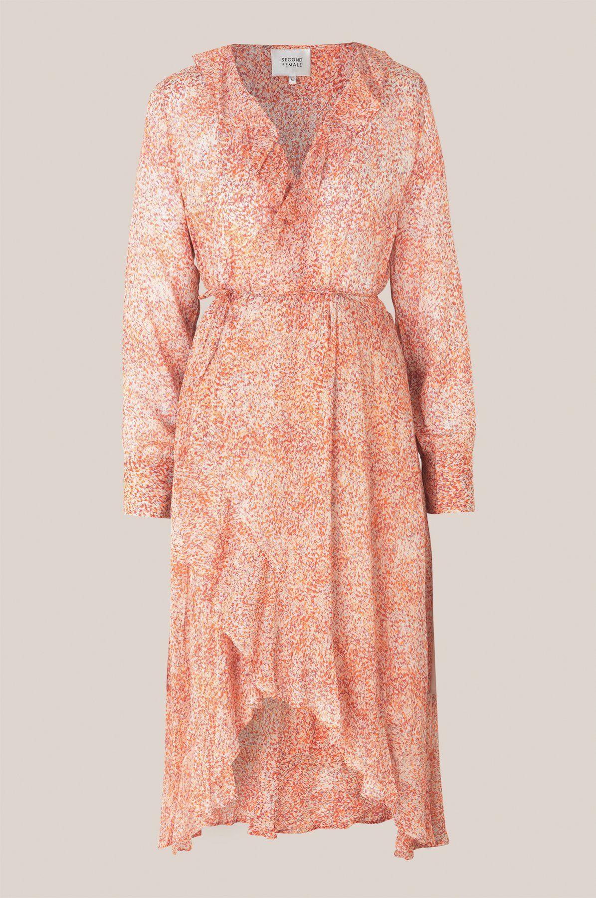 Second Female Floral LS Wrap Dress L