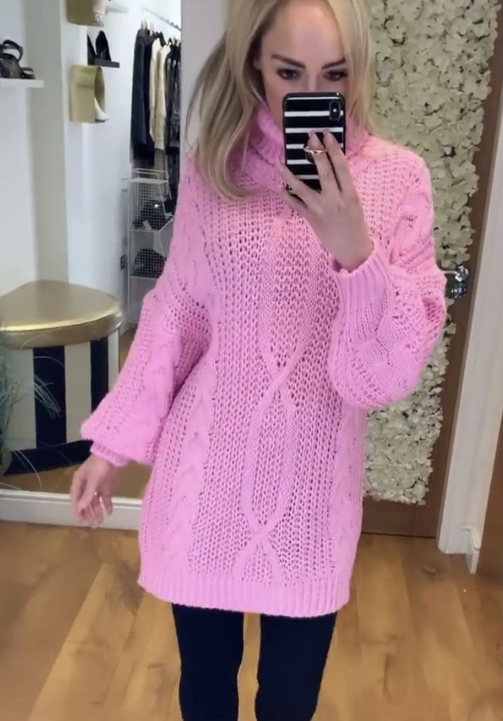 Pink Cable Knit Jumper Dress