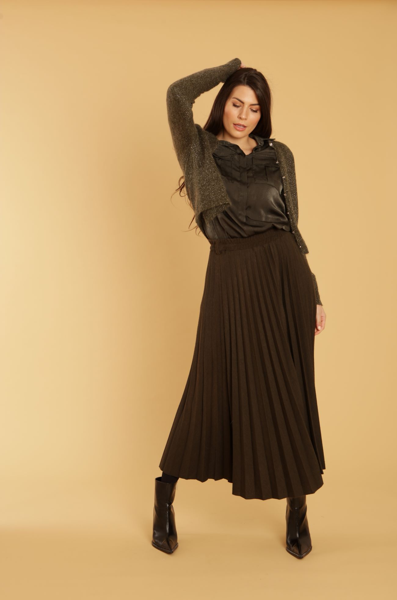 Olive Pleated Wool Skirt OLIVE - XL